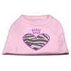 Mirage Pet Products Zebra Heart Rhinestone Dog Shirt Light Pink Med (12)