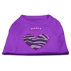 Mirage Pet Products Zebra Heart Rhinestone Dog Shirt Purple XXL (18)