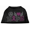 Mirage Pet Products Peace Love Hope Breast Cancer Rhinestone Pet Shirt Black XXL (18)