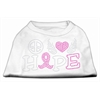 Mirage Pet Products Peace Love Hope Breast Cancer Rhinestone Pet Shirt White XS (8)