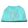 Mirage Pet Products Technicolor Love Rhinestone Pet Shirt Aqua Med (12)