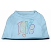 Mirage Pet Products Technicolor Love Rhinestone Pet Shirt Baby Blue Med (12)