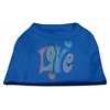 Mirage Pet Products Technicolor Love Rhinestone Pet Shirt Blue Med (12)
