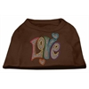 Mirage Pet Products Technicolor Love Rhinestone Pet Shirt Brown Med (12)