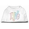 Mirage Pet Products Technicolor Love Rhinestone Pet Shirt White XL (16)