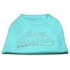 Mirage Pet Products Merry Christmas Rhinestone Shirt Aqua XXXL(20)