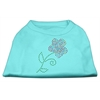 Mirage Pet Products Multi-Colored Flower Rhinestone Shirt Aqua XXXL(20)