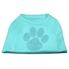 Mirage Pet Products Blue Paw Rhinestud Shirt Aqua XXXL(20)