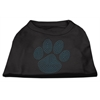 Mirage Pet Products Blue Paw Rhinestud Shirt Black XXXL(20)