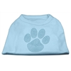 Mirage Pet Products Blue Paw Rhinestud Shirt Baby Blue XXXL(20)