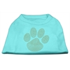 Mirage Pet Products Gold Paw Rhinestud Shirt Aqua XL (16)