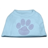 Mirage Pet Products Purple Paw Rhinestud Shirts Baby Blue XXXL(20)