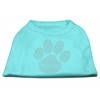 Mirage Pet Products Clear Rhinestone Paw Shirts Aqua M (12)