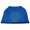 Mirage Pet Products Clear Rhinestone Paw Shirts Blue Med (12)