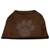 Mirage Pet Products Clear Rhinestone Paw Shirts Brown Med (12)