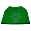 Mirage Pet Products Clear Rhinestone Paw Shirts Emerald Green Med (12)