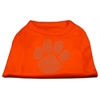Mirage Pet Products Clear Rhinestone Paw Shirts Orange Lg (14)