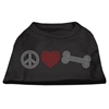 Mirage Pet Products Peace Love and Bone Rhinestone Shirt Black XXL (18)