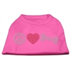 Mirage Pet Products Peace Love and Bone Rhinestone Shirt Bright Pink XL (16)