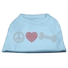 Mirage Pet Products Peace Love and Bone Rhinestone Shirt Baby Blue XXXL(20)