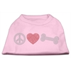 Mirage Pet Products Peace Love and Bone Rhinestone Shirt Light Pink XXXL(20)