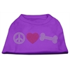 Mirage Pet Products Peace Love and Bone Rhinestone Shirt Purple XXXL(20)