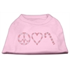 Mirage Pet Products Peace, Love, and Candy Canes Shirts Light Pink XXXL(20)