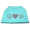 Mirage Pet Products Peace Love and Paw Rhinestone Shirt Aqua XXXL(20)