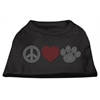 Mirage Pet Products Peace Love and Paw Rhinestone Shirt Black XXXL(20)
