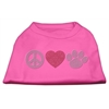 Mirage Pet Products Peace Love and Paw Rhinestone Shirt Bright Pink XXXL(20)