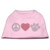 Mirage Pet Products Peace Love and Paw Rhinestone Shirt Light Pink XXXL(20)