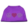 Mirage Pet Products Peace Love and Paw Rhinestone Shirt Purple XXXL(20)