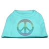 Mirage Pet Products Rhinestone Rainbow Peace Sign Shirts Aqua XL (16)