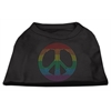 Mirage Pet Products Rhinestone Rainbow Peace Sign Shirts Black XXL (18)