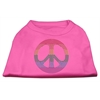 Mirage Pet Products Rhinestone Rainbow Peace Sign Shirts Bright Pink XXL (18)
