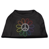 Mirage Pet Products Rhinestone Rainbow Flower Peace Sign Shirts Black XXXL(20)