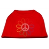 Mirage Pet Products Rhinestone Rainbow Flower Peace Sign Shirts Red XXXL(20)