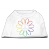 Mirage Pet Products Rhinestone Rainbow Flower Peace Sign Shirts White XL (16)