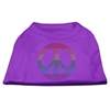 Mirage Pet Products Rhinestone Rainbow Peace Sign Shirts Purple S (10)