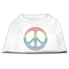 Mirage Pet Products Rhinestone Rainbow Peace Sign Shirts White XXXL (20)