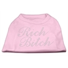 Mirage Pet Products Rich Bitch Rhinestone Shirts Light Pink XXXL(20)