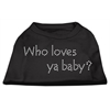 Mirage Pet Products Who Loves Ya Baby? Rhinestone Shirts Black XXXL(20)