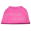 Mirage Pet Products Who Loves Ya Baby? Rhinestone Shirts Bright Pink XXXL(20)