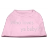Mirage Pet Products Who Loves Ya Baby? Rhinestone Shirts Light Pink XXXL(20)