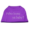 Mirage Pet Products Who Loves Ya Baby? Rhinestone Shirts Purple S (10)