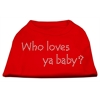 Mirage Pet Products Who Loves Ya Baby? Rhinestone Shirts Red XS (8)