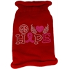 Mirage Pet Products Peace Love Hope  Rhinestone Knit Pet Sweater Red Med (12)