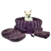 Mirage Pet Products Purple Cheetah Reversible Snuggle Bugs Pet Bed, Bag, and Car Seat in One