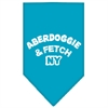 Mirage Pet Products Aberdoggie NY Screen Print Bandana Turquoise Large