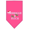 Mirage Pet Products Aberdoggie Christmas Screen Print Bandana Bright Pink Large